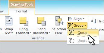 Botones del grupo de herramientas de dibujo