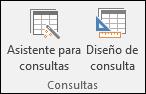 En el grupo Consultas de la cinta de opciones de Access, se incluyen dos opciones: Asistente para consultas y Diseño de consulta
