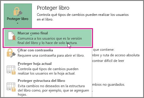 Marcar como final en Excel en Office 2016