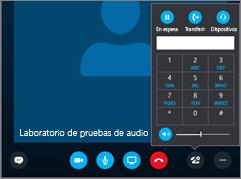 Captura de pantalla que muestra el teclado de audio