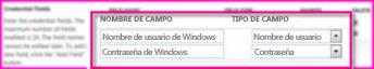 Captura de pantalla donde aparece la sección Campos de credenciales de la página de propiedades de la aplicación de destino del Servicio de almacenamiento seguro. Estos campos le permiten especificar las credenciales de inicio de sesión para el destino