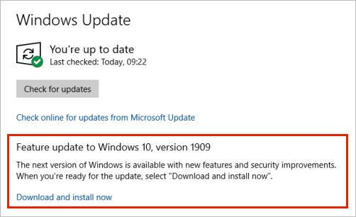 Windows Actualización que muestra la ubicación de actualización de características