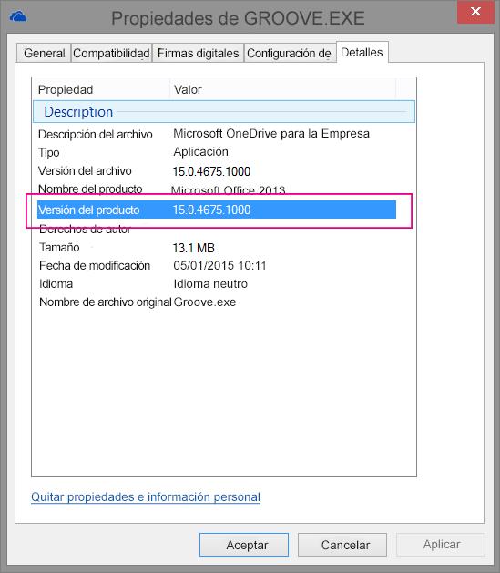 El cuadro de diálogo de propiedades de groove.exe muestra la versión del producto para la aplicación de sincronización de OneDrive para la Empresa.