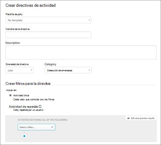 Puede crear directivas de actividad con la seguridad de aplicación de nube de Office 365.