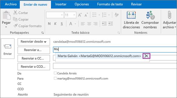 La captura de pantalla muestra la opción Enviar de nuevo en un mensaje de correo electrónico. En el campo Volver a enviar a, la característica Autocompletar proporciona la dirección de correo electrónico del destinatario en función de las primeras letras del nombre del mismo.