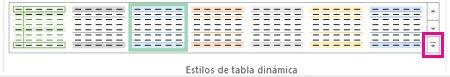 Botón Más en la galería Estilos de tabla dinámica