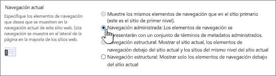 Sección navegación actual con navegación administrada seleccionada