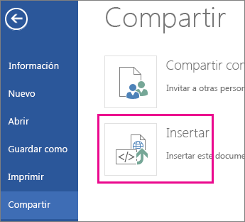 Obtener el código incrustado de un documento de Word