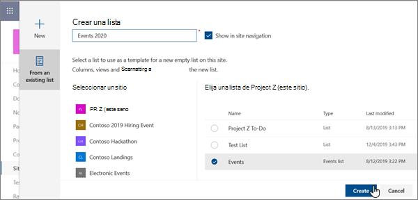 Crear una lista a partir de una lista existente en la experiencia moderna de SharePoint