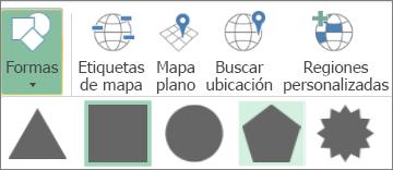 Opción Formas en mapas 3D
