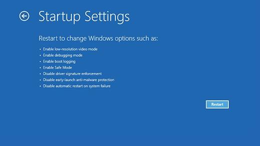 Pantalla Configuración de inicio en el Entorno de recuperación de Windows