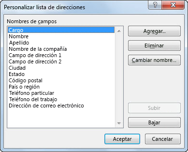 Cuadro de diálogo Personalizar lista de direcciones