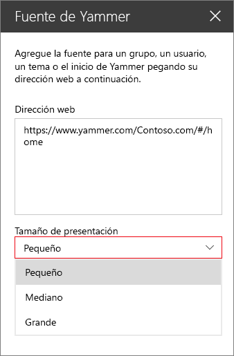 Cuadro Dirección web de la fuente de Yammer