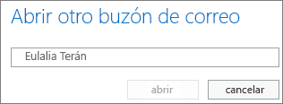 Cuadro de diálogo Abrir otro buzón de Outlook Online