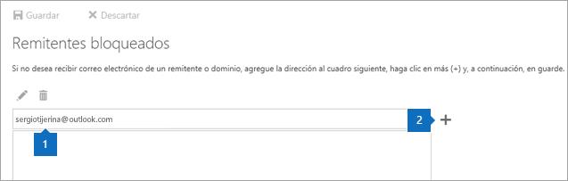 Captura de pantalla de la página de remitentes bloqueados.