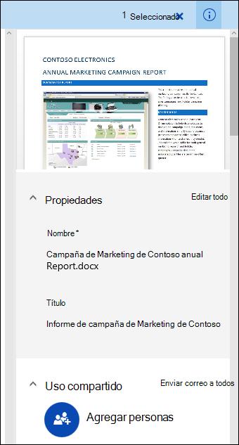 Panel metadatos de documento de Office 365