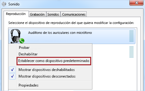 Establecer dispositivo como predeterminado en Windows