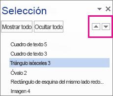 Panel de selección que muestra todas las formas, cuadros de texto, imágenes de WordArt y objetos del documento.