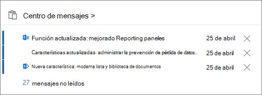 Centro de mensajes de tarjeta del centro de administración de Office 365