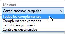 Cuadro de diálogo Administrar complementos que muestra la lista desplegable Complementos cargados actualmente.