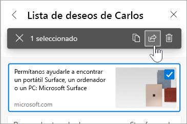 Captura de pantalla de la casilla de verificación y el botón compartir