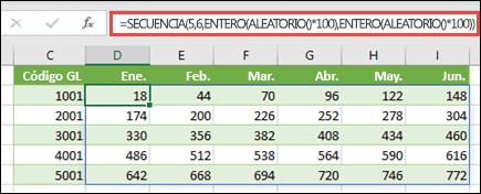 Ejemplo de SECUENCIA anidado con ENTERO y ALEATORIO para crear un conjunto de datos de ejemplo