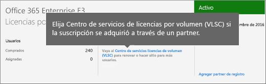 Vínculo del Centro de servicios de licencias por volumen de Microsoft.