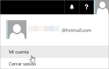 Captura de pantalla de la lista desplegable de para la selección de Mi cuenta.