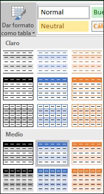Selecciones de la Galería de estilos de Excel para Dar formato como tabla