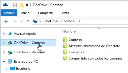 Captura de pantalla que muestra el Explorador de archivos con la carpeta OneDrive para la empresa seleccionada.