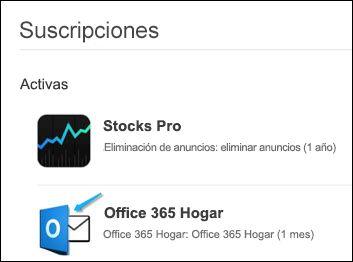 La imagen muestra que Outlook se usó para comprar Office 365.
