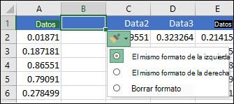 Imagen del botón Opciones de inserción que se muestra después de insertar filas o columnas.