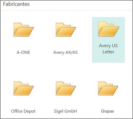 Plantillas de postales para fabricantes específicos, como Avery