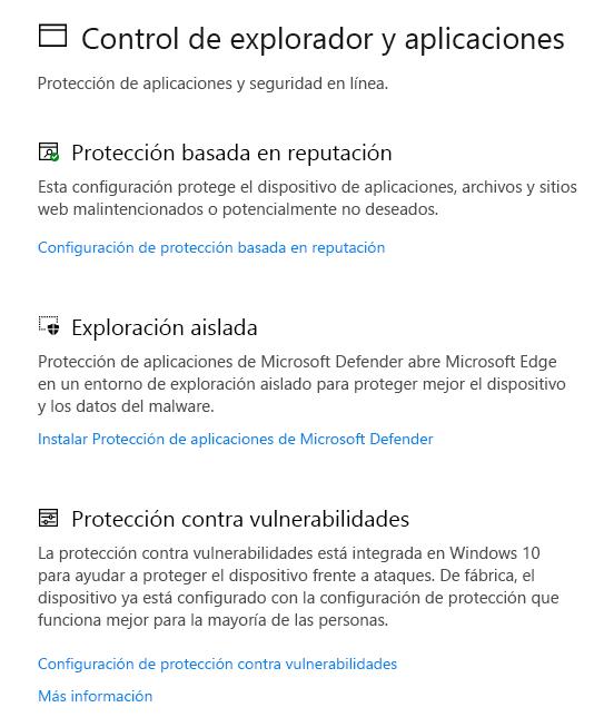 Control de aplicaciones y explorador en Seguridad de Windows