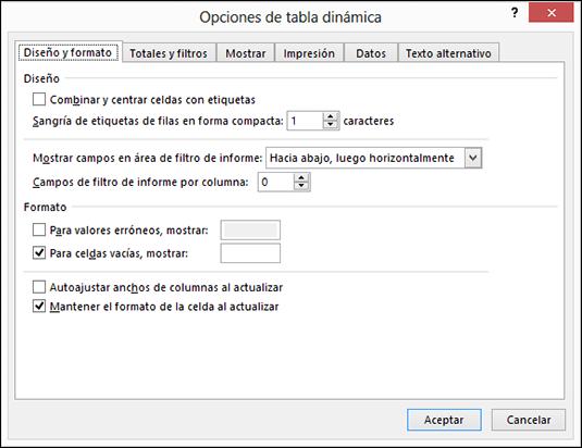 Cuadro de diálogo Opciones de tabla dinámica