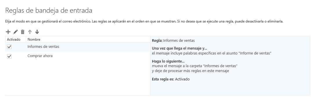 Cuadro de diálogo Reglas y alertas