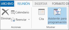 Botón Asistente para programación en Outlook 2013.