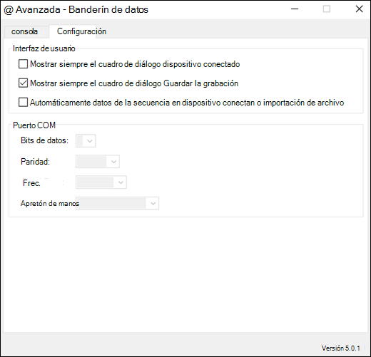 Ficha Configuración avanzada del complemento flujo de datos de Excel