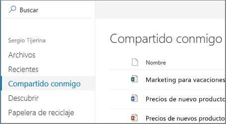 Ver captura de pantalla de la compartido conmigo en OneDrive para la empresa