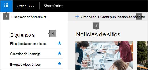 Página principal de SharePoint Online