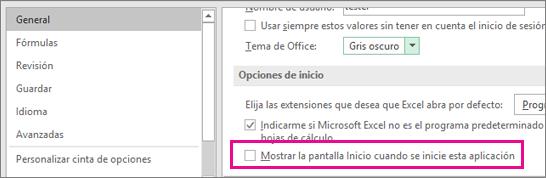 Opción de Excel para desactivar la pantalla Inicio al abrir Excel