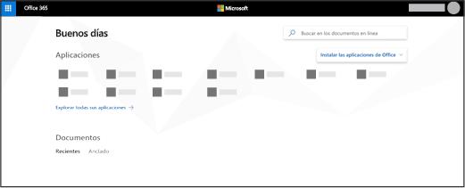 La pagina principal de Office 365