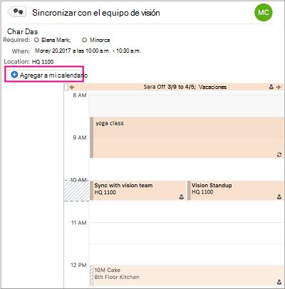 Haga clic en el botón Agregar a mi calendario para agregar un evento de grupo a su calendario personal