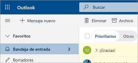 Captura de pantalla de correo en la versión beta de Outlook en la web