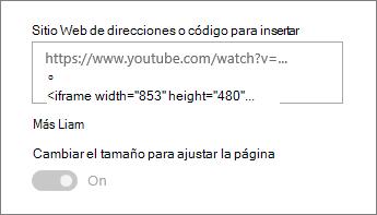 Pegue una dirección URL del vídeo o código para insertar en el campo