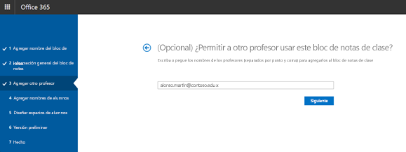Captura de pantalla del paso de permisos opcional profesor adicionales.