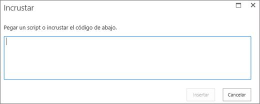 Captura de pantalla del cuadro de diálogo Insertar de SharePoint Online para pegar script o código para insertar de archivos de audio o vídeo, y luego insertar el código.