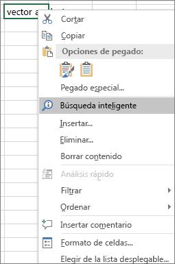 Búsqueda inteligente en el menú contextual de Excel 2016 para Windows