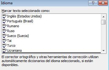 Set Language dialog box with multiple languages shown