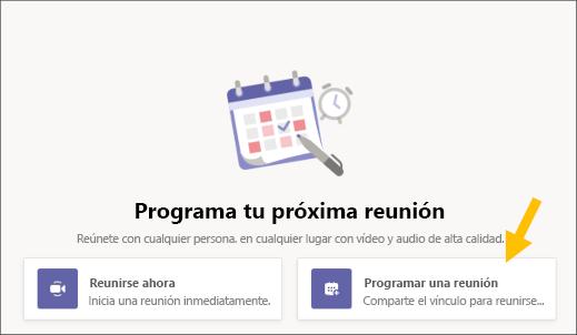 Selecciona el botón Programar una reunión